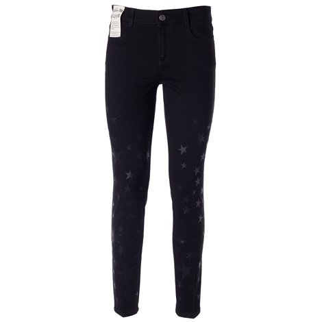 jeans skinny neri con stampa stelle