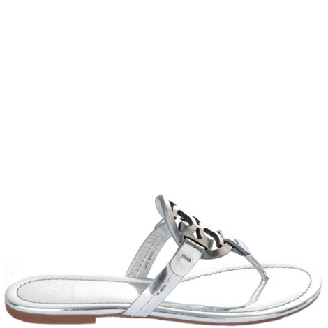 silver leather miller sandals