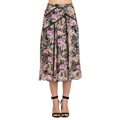 multicolor printed viscose skirt