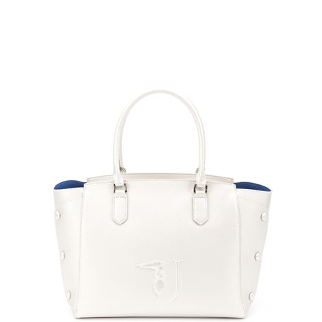 white faux leather melissa tote bag
