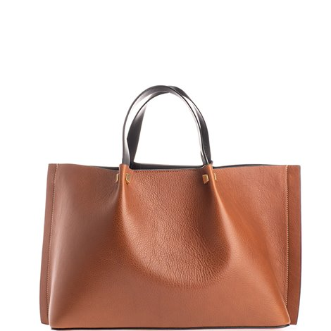 brown leather shopping bag