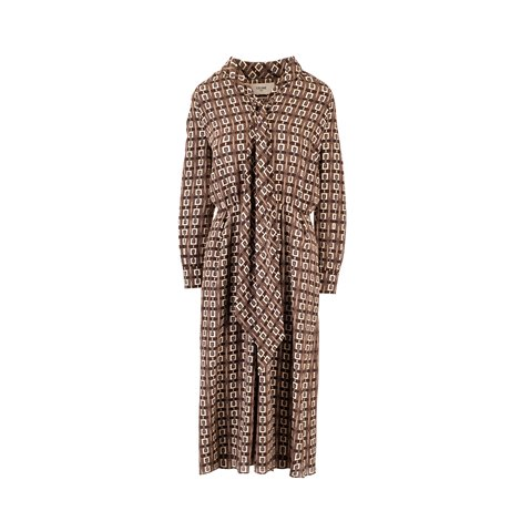 prince of wales print long trench coat
