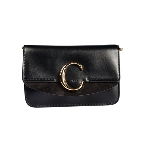 "chloé ""c"" clutch with chain in shiny & suede calfskin"