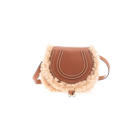 marcie round saddle mini bag in shearling, small grain calfskin and shiny calfskin