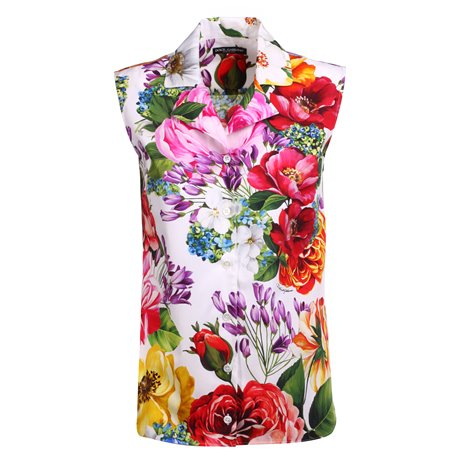 blouse with scarf in floral printed silk