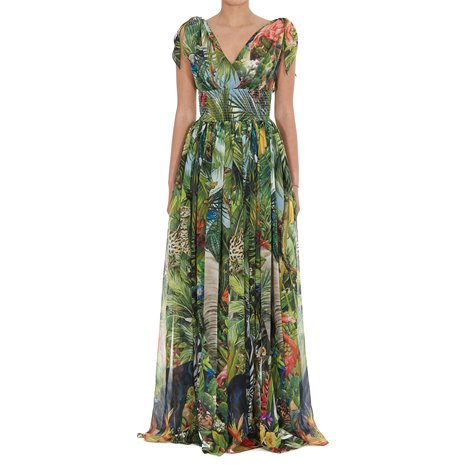 georgette long dress with jungle print