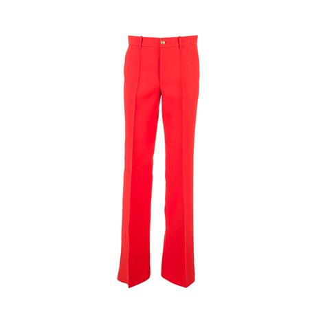silk and wool flare trousers