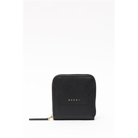 rectangular zip around wallet in saffiano leather