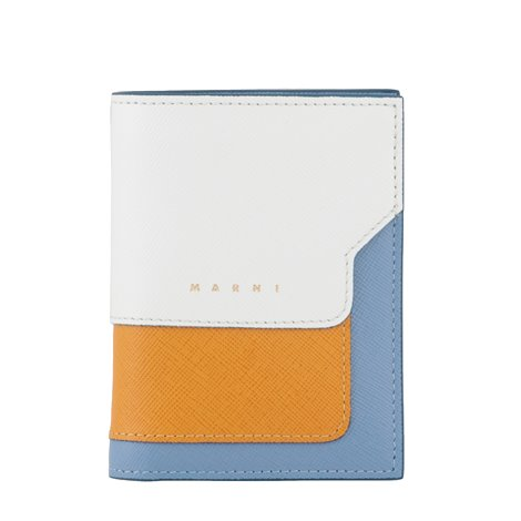 squared zip around wallet in saffiano leather