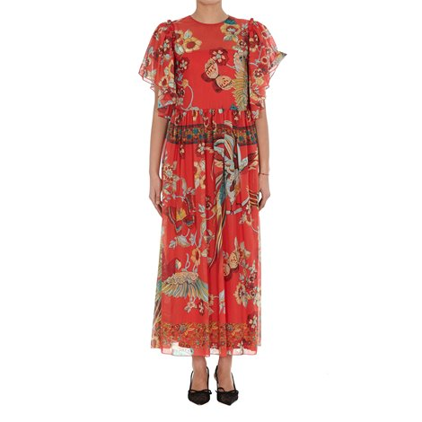 antique flowers and birds printed silk dress