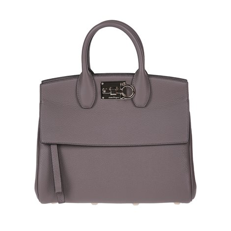 grey leather studio bag