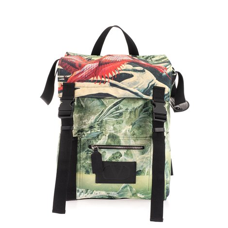 backpack in technical fabric with graphic print