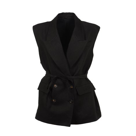 double breasted twill gilet