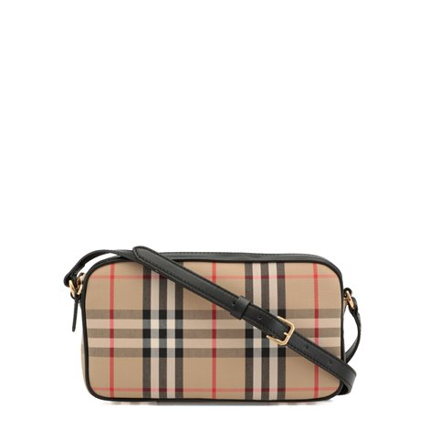 small vintage check and leather camera bag