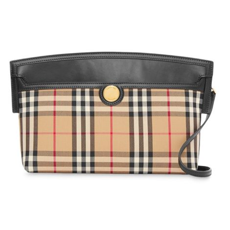 vintage check and leather society clutch