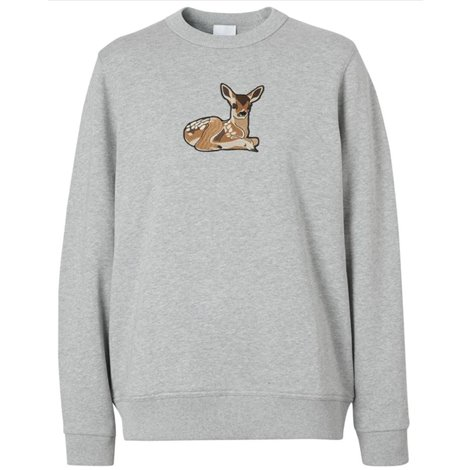deer motif cotton oversized sweatshirt