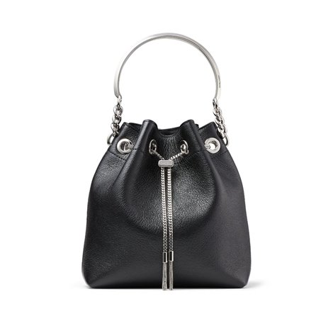 latte grainy goat leather bucket bag with silver metal handle