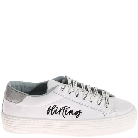 white leather flirting sneakers