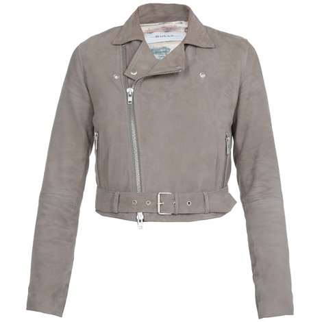 grey cropped suede leather jacket