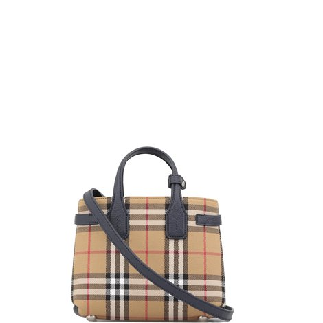 beige checked cotton handbag with leather details