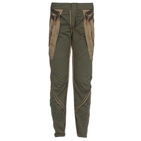 pantaloni in cotone color verde militare