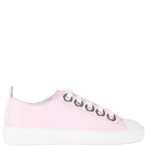 pink sneakers with contrasting toe