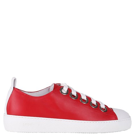 red sneakers with contrasting toe