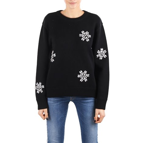 black crystal applique sweater