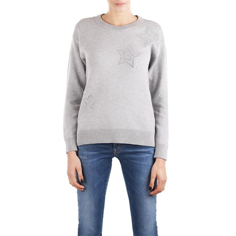 grey applique sweater