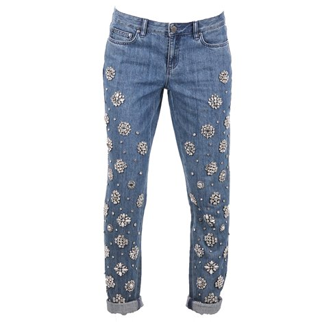 crystals and pearls applique crop jeans