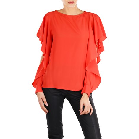 orange silk blend bethany blouse