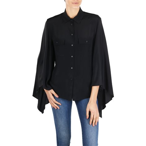 black silk blend shirt