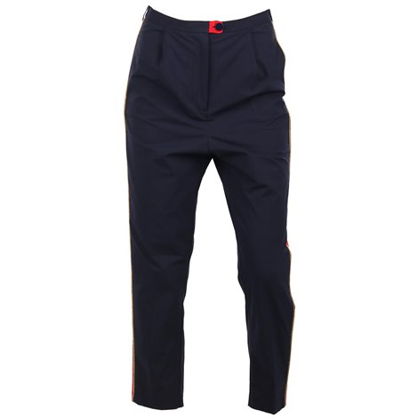 high rise trousers with side bands
