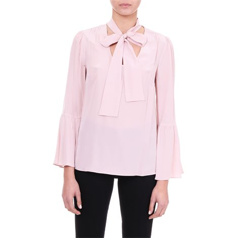 pink silk blouse