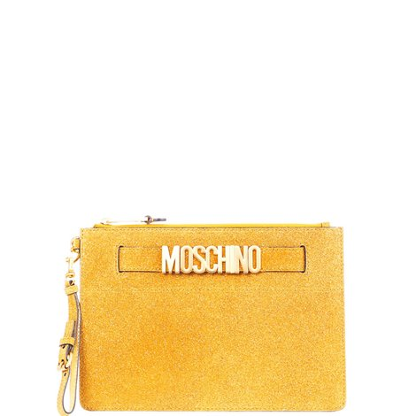 yellow logoed clutch bag