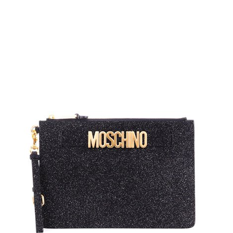 black glittered clutch bag with logo