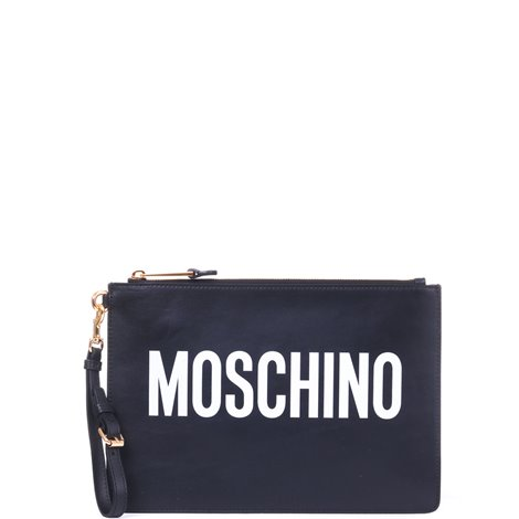 black leather logoed clutch bag