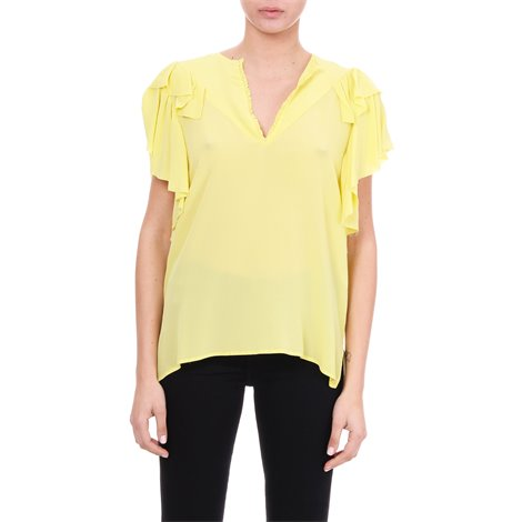 yellow silk frilled blouse