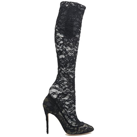 black lace coco over knee boots