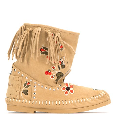 beige embroidered ankle boots with fringes