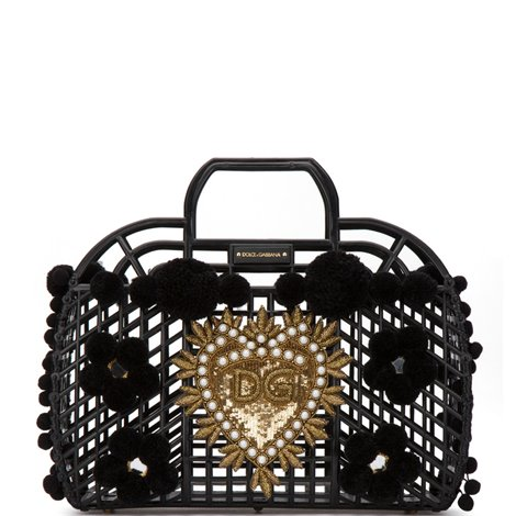 kendra shopping bag in pvc with embroidery and pom-pom