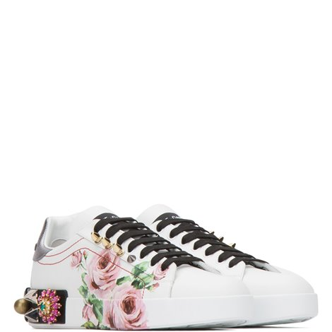 white printed leather portofino sneakers