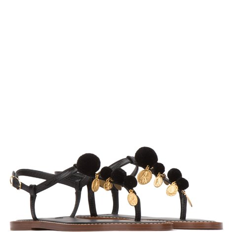 black patent leather and raffia thong sandals with charms