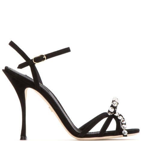 black suede sandals with crystals