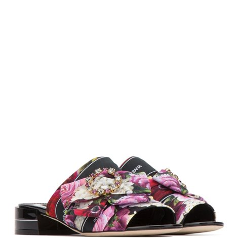 printed fabric keira mules with bejeweled buckle