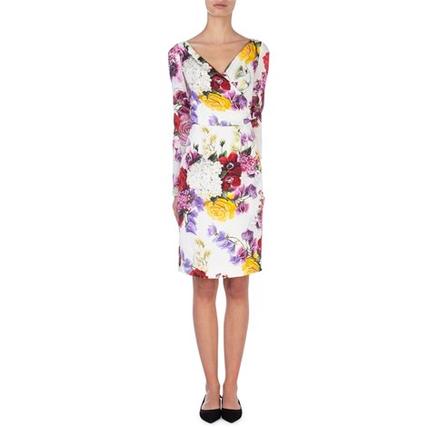 midi-lenght dress in printed stretch silk