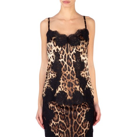 lace and leopard print silk top