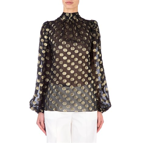laminated polka-dot  embroidery black sheer blouse