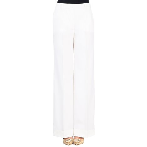 white palazzo pants in stretch wool