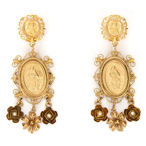 pendant earrings with votive medallions and charms